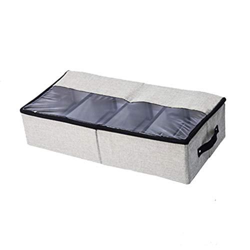 HOMEsn 2 Paquetes BAJO Caja DE Almacenamiento DE ZAPACIDAD DE Cama FLOZABLE, Caja De Almacenamiento De Zapatos Transparentes para Botas De Cuero, Zapatillas De Deporte, Tacones Altos Gris