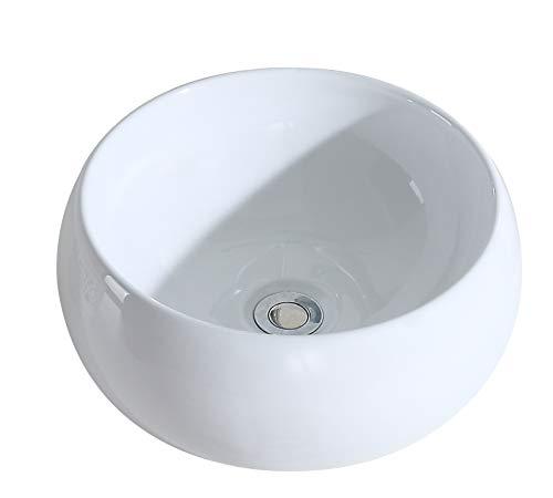 Eridanus, Vasque à Poser Ronde Lavabo Salle de Bain Lave-Mains Bassin en Céramique L40*L40*H16cm, Série Luciano -02