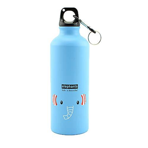 Ruikey 500ML Bouteille d'eau de Sport de Dessin Animé Mignon Alliage Gourde Enfant avec Porte-clés pour Extérieur