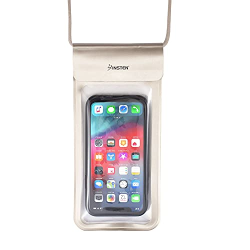"""Universal IPX8 Waterproof Phone Dry Bag Case Pouch Purse Compatible With iPhone 11 Pro Max XR XS X SE 2020 8 7 Plus, Samsung Note 20 Ultra S20 S10 S9 & All Smartphones Up to 6.9"""" x 3.5"""" Gold by Insten"""