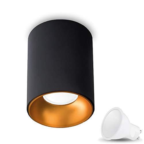 Aufbauleuchte Aufbaustrahler Aufputz ASTRAL (Rund, Schwarz/Gold) Inkl. 1 x 1W LED Kaltweiss GU10 Fassung 230V Deckenleuchte Strahler Deckenlampe Würfelleuchte CUBE Kronleuchter aus Aluminium Spot