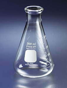 PYREX 250mL Narrow Mouth Erlenmeyer Flasks with Heavy Duty Rim, Ea