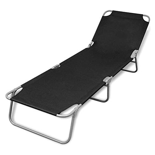 FAMIROSA Folding Sun Lounger Backrest Adjustable Fabric Reclining Chaise Lounge Chair Green for Indoor Office Outdoor Poolside, Balcony, Beach Black A