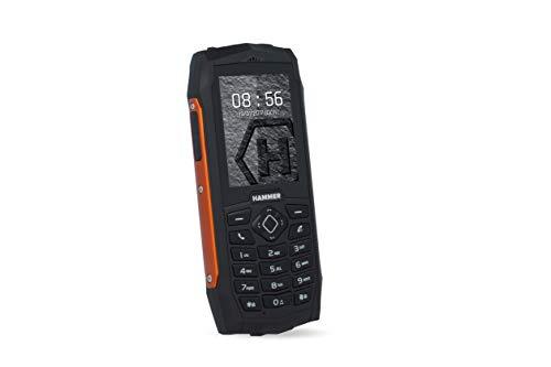 "Hammer 3 teléfono Duradero para Trabajar, Mega batería de 2000 mAh, Pantalla de 2.4"", Resistente al Agua (IP68), A Prueba de Golpes (IK05), Teléfono de botón, Linterna, Dual-SIM - Naranja"