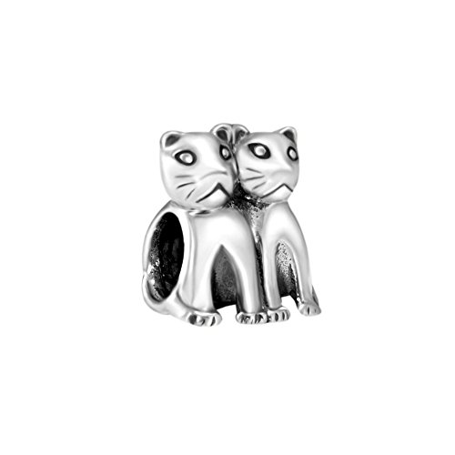 Quiges 925 Sterling Silber 3D Doppelte Katze Tier Charm Bead