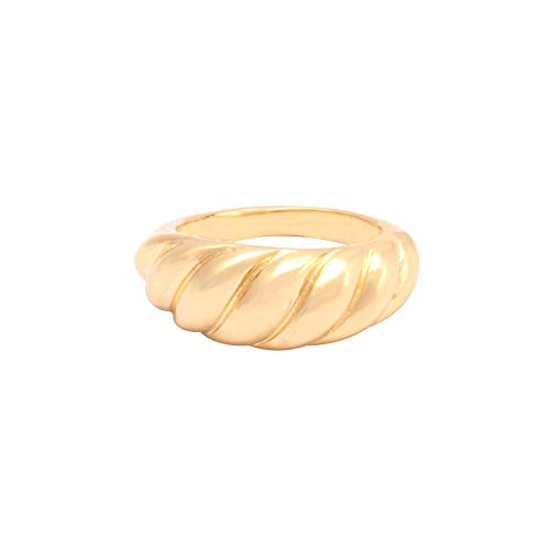 House of Meèsse Women's Luxury Croissant Dome Hoop Ring and Earrings Set, 18K Gold Plated, Comes with an Elegant Gift Box (7)