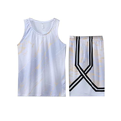 ONLYGO Baloncesto Jersey Traje Uniforme Desgaste de Deportes Traje Top y Pantalones Cortos Tops de Entrenamiento Tops de Tanques con Bolsillo White-XL