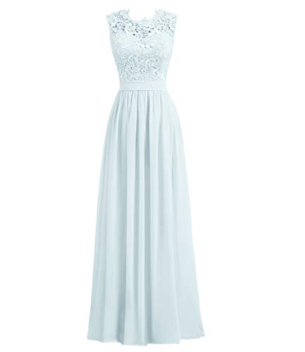Libaosha Women's A-line Lace Top Chiffon Bottom Wedding Party Bridesmaid Dress Long (Mist,US8)