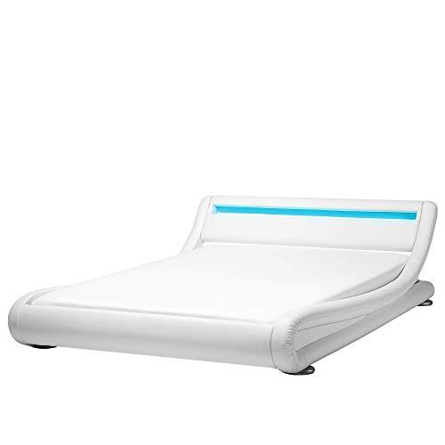 Bequemes Wasserbett mit LED Kunstleder 180 x 200 cm weiß Avignon