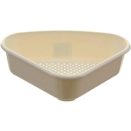 Plastic Triangular Corner Sink Tidy Drainer Kitchen Storage Caddy Basket (Cream)