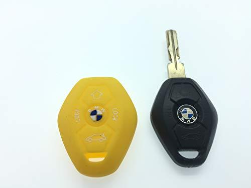 Silicone de Haute Qualité à distance 3/4 boutons FOB Housse de protection pour BMW 3 E35 E46 E90 E39 38 36 E91 E60 65 66 67 E61 E53 BMW 3 5 6 7 modèle de la série M Sport 3 M3 M5 X5 X6 7 Z3 Z4 (Jaune)