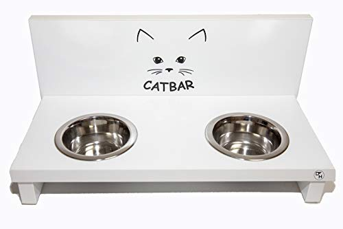 Hermesmoebel Katzen Futterstation Napf Haustier Edelstahl Wasser Futter weiß Catbar