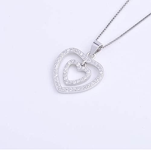 Gbrand Collar de corazón de Doble aro de Plata de Ley 925 para Mujer, Colgante de corazón de Pareja, Accesorios de joyería, Regalo