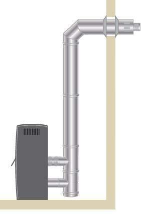 Kit de ventosa horizontal 80/125 negro estufa de pellets
