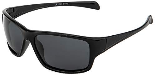 La Optica B.L.M. Sonnenbrille UV400 CAT 3 Unisex Damen Herren Sportbrille Fahrradbrille Auto - Schwarz (Gläser: Grau)