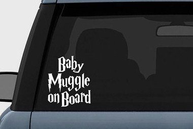 """Harry Potter Baby Muggle on Board Vinyl Decal Sticker (5.5"""" inches (White)"""