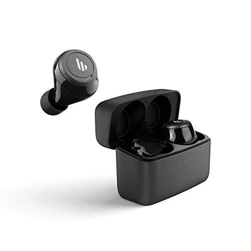 Edifier True Wireless Ohrhörer, Kopfhörer mit 32 St&en Batterielaufzeit, Mikrofon & Ladestation, Bluetooth V5.0 aptX, IPX5 Spritzwasser- & Schweißschutz, einfache Kopplung, in schwarz