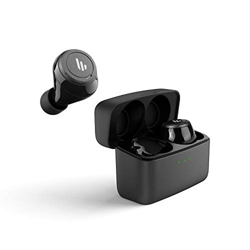 Edifier TWS5 True Wireless Earbuds - Up to 32 Hour Battery Life with Mic and Charging Case, Bluetooth v5.0 aptX, IPX5 Splash & Sweatproof, Easy Pairing - Black