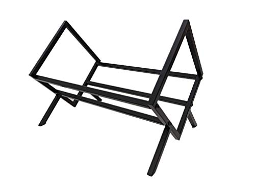 Modern Black Metal Vinyl Record Storage Rack for LP Records, Books, or Magazines in a Minimalist Design and Includes Protective Anti-Slip Pads