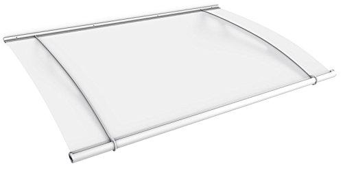 Schulte Vordach 205x142 cm Haustür Überdachung Stahl Weiß rostfrei Acrylglas Durchgehend und milchig Pultvordach LT-Line