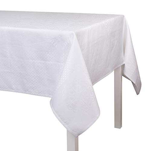 LE JACQUARD FRANÇAIS - Nappe Bosphore Blanc 50% Coton - 50% Lin - Rectangulaire - 175 x 320 cm
