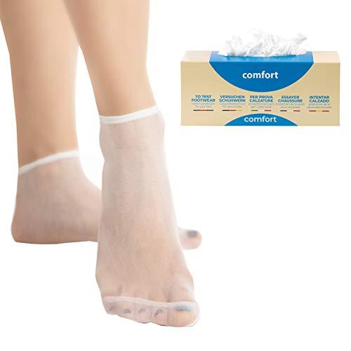 Pedsox Calcetines higiénicos Comfort desechables para prueba de calzado. Color blanco. Talla única