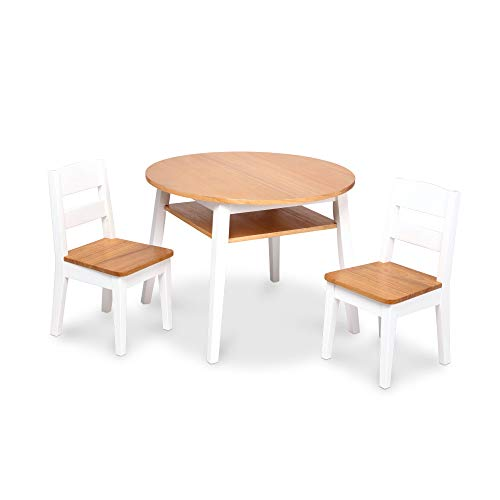 Melissa & Doug Wooden Round Table and 2 Chairs Set – Kids Furniture for Playroom, Light Woodgrain and White 2-Tone Finish