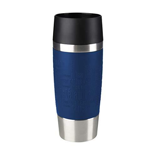 Emsa Travel Mug, Mug isotherme, 0,36 L, 100% sûr, 100% hermétique, Base antidérapante, Boissons chaudes et froides, Bonne prise en main, Bleu 513357