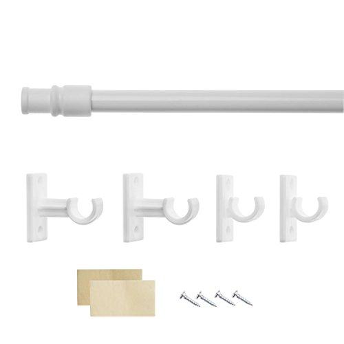 Lichtblick CS.085.01 Cafehausstange Florida, ohne Bohren, ausziehbar - Weiß 80-135 cm