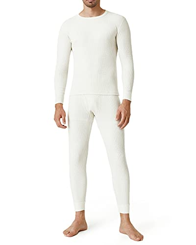 LAPASA Conjunto de Ropa Interior Térmica Punto de Gofre Peso Medio para Hombres Capa Base de Ropas Interior Largos Camisa y Pantalon M60 S Blanco