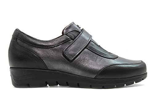 PITILLOS - 2303 Negro - Zapato de Piel, cuña Baja, Cierre de Velcro, Suela de Goma, para: Mujer Color: Negro Talla:38
