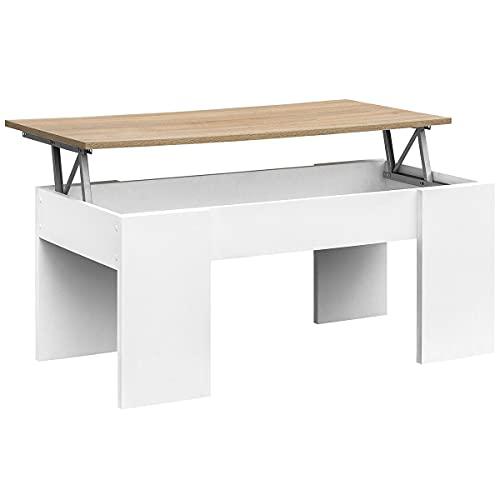 COMIFORT Mesa Centro Elevable - Mesa Salón Funcional con Gran Almacenaje, Estilo Moderno, Muy Resistente, Color Blanco y Roble, Fabricada en Europa