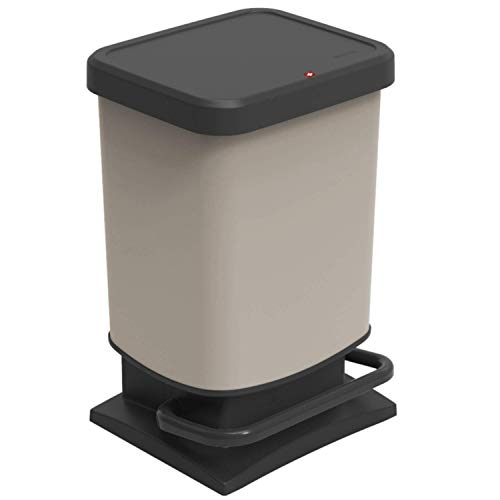 Rotho Paso Mülleimer 20l mit Deckel, Kunststoff (PP recycelt) BPA-frei, cappuccino, 20l (29,3 x 26,6 x 45,7 cm)