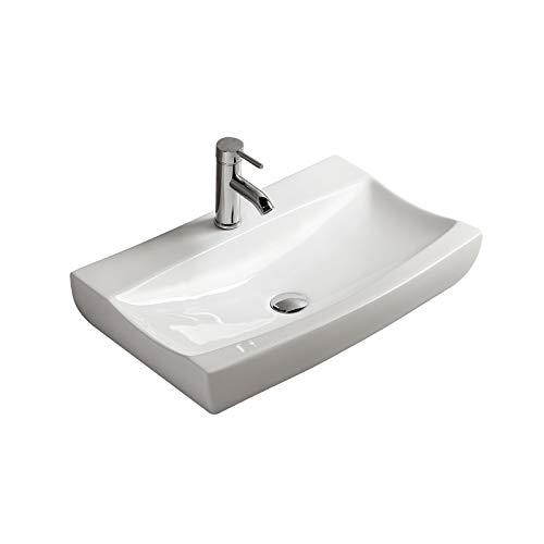 Gimify Lavabo da Appoggio 62.5x39.5x12cm Design Moderno Bacinella Lavandino Lavello in Ceramica Bianco Sanitari Bagno