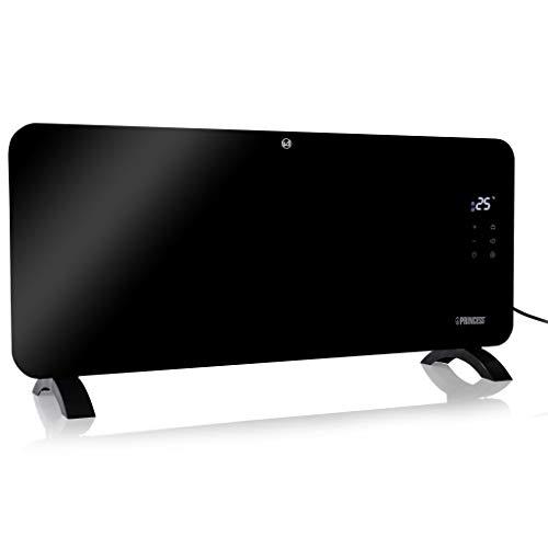 Princess 01.341500.01.001 Calefactor con panel de cristal Smart, controlado por app, 1500 W, negro