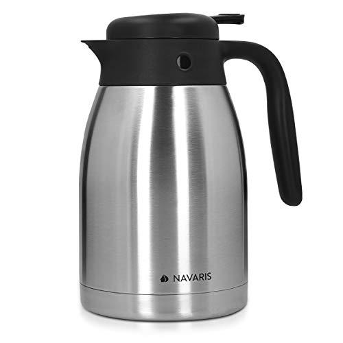 Navaris Isolierkanne Warmhaltekanne aus Edelstahl 1,5l - isolierte Kanne für Tee Kaffee - für heiße und kalte Getränke - auslaufsicher BPA-frei