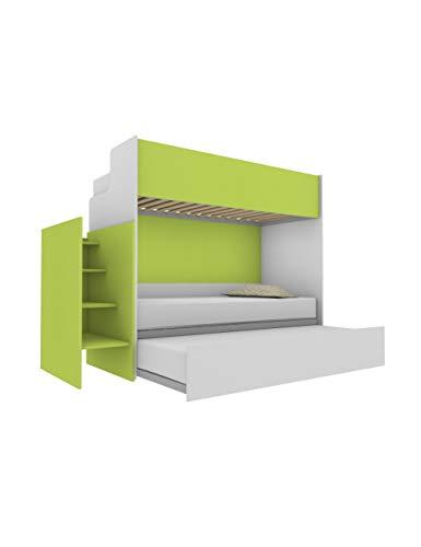 Woody - Litera funcional de diseño, con tercera cama extraíble y elevable, 80 x 190 cm, escalera de contención incluida, color blanco y verde lima