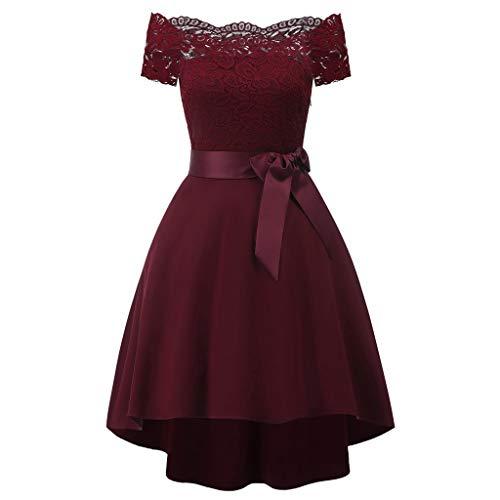 Best Bargain Panfinggin Women's Floral Lace Dress Short Bridesmaid Dresses Off Shoulder Short Sleeve...