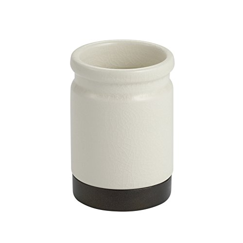 iDesign Westport Ceramic Tumbler Cup for Bathroom Vanity Countertops - Cream/Bronze
