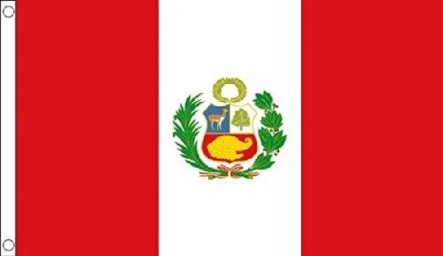 3M x 2M (90x 60cm) état Péruviens Pérou avec blason Matière 100% polyester drapeau bannière Idéal pour Pub Club école Festival Business Party Décoration