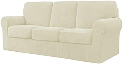 CHUN YI 7 Piece Stretch Sofa Cover, 3 Seater Couch Slipcover with Three Separate Backrests and Cushions with Elastic Band, Checks Spandex Jacquard Fabric(Large,Ivory White)