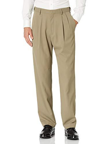 Haggar mens Mynx Gabardine Hidden Expandable Waistband Classic Fit Front Pleated Dress Pant, Khaki, 36x29