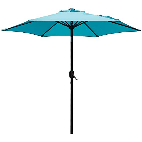 DOIFUN 9ft Patio Umbrella Aluminum Outdoor Umbrella Market Table Umbrellas with Push Button Tilt, Crank and 6 Sturdy Ribs for Lawn, Garden, Deck, Backyard & Pool, Turquoise