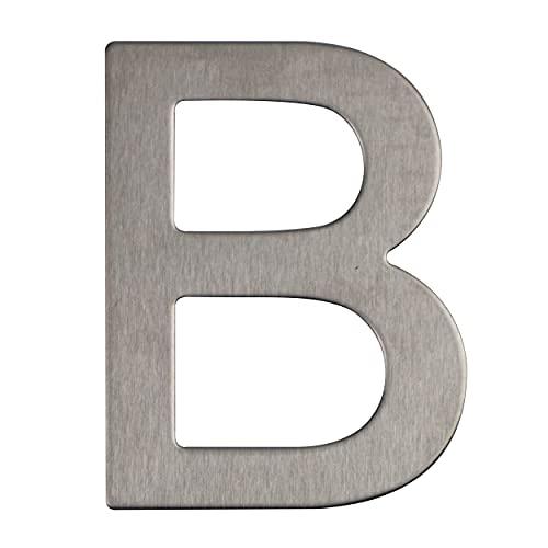 Número y letra de la calle, número de la puerta o número de la casa, de acero inoxidable Plata brillante, con soporte adhesivo, de 76 mm de altura (B)