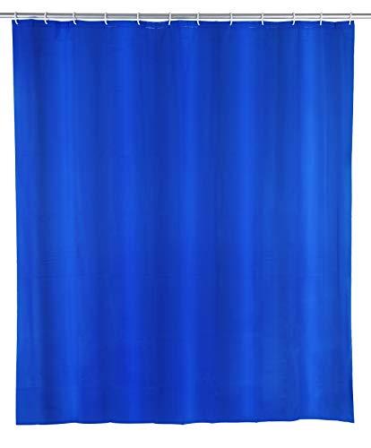 WENKO Duschvorhang Uni Night Blue - wasserdicht, leicht zu pflegen, Polyethylen-Vinylacetat, 120 x 200 cm, Dunkelblau