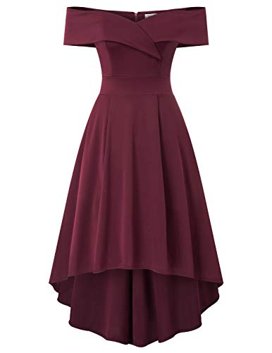JASAMBAC Off Shoulder Dresses for Women Empire Waist Plain Evening Party Cocktail Dresses with Pockets Wine Red 2XL