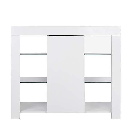 Modern dressoir met LED-verlichting, MDF-houten keukenkast, met groot compartiment en 3-laagse plank, kast voor eetkamer, woonkamer, keuken, 97.5x35x83.5cm (wit)
