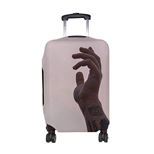 Hand Fingers Tattoo Pattern Print Travel Luggage Protector Baggage Suitcase Cover Fits 18-21 Inch Luggage