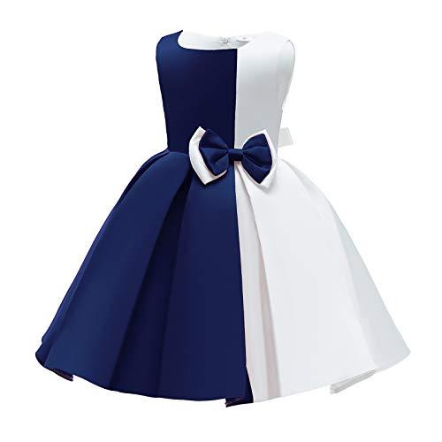 IWEMEK Vestido de noche para niña, sin mangas, línea A, con lazos,...