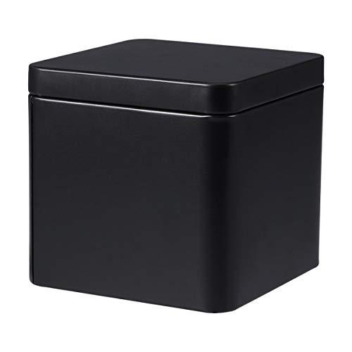 Yardwe Blechdosen Quadratische Box mit Deckel Metallboxen Leerdose Behälter Geschenkbox für Tee Kerzen Bonbons (Schwarz)